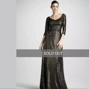 David Meister Elegant Cocktail Metallic Lace Gown